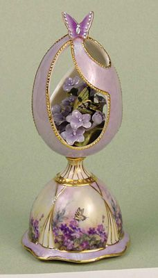 """Purple Passion -  Violet Spring Egg Music Box.  Plays """"The Way We Were"""""""
