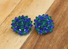 Vintage Blue and Green Bead Large Round Clip On Earrings by SaturdayPickings, $8.50 mad men glamour hollywood regency clip-on mcm mid century modern retro jewelry