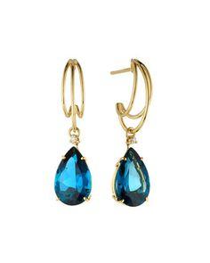 18k Gold London Blue Topaz Drop Earrings w/ Diamonds by VIANNA B.R.A.S.I.L at Neiman Marcus Last Call.