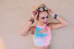 ♡  Festival Vibes ✨ Save 25% off all orders with code PINTERESTXO at checkout | Bohemian Bedroom + Home Decor | Mandala Tapestries & Twilights Decor by Lady Scorpio | Shop Now http://LadyScorpio101.com | @LadyScorpio101 || Model Kaitlyn Johnson rocking the space buns wearing pastel rave outfit from Little Black Diamond & Glo FX kaleidoscope glasses + Everwear Arm Candy Bracelets