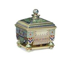 ❤ - SILVER-GILT GUILLOCHÉ AND CHAMPLEVÉ ENAMEL COVERED BOX MARKED P. OVCHINNIKOV WITH THE IMPERIAL WARRANT, MOSCOW, CIRCA 1876