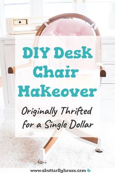 Check out this thrift store desk chair before and after! A bit of fabric and spray paint went along way in this furniture flip! Diy Furniture Flip, Thrift Store Furniture, Furniture Projects, Desk Chair Makeover, Furniture Makeover, Habitat For Humanity Restore, Sewing School, Butterfly House, Diy Desk