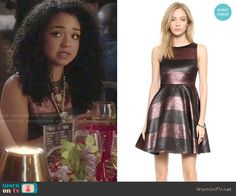 Beth's metallic striped dress on Chasing Life.  Outfit Details: http://wornontv.net/50843/ #ChasingLife