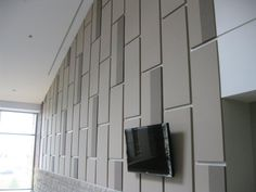 Tectum Fabri-Tough II Wall Panels allow designers to use any suitable fabric on sound-deadening Tectum Wall Panels. Fabri-Tough II is perfect for offices, conference rooms and any space where designer fabrics are required. Acoustic Fabric, Acoustic Wall Panels, Acoustic Design, Corporate Office Design, Focal Wall, Wall Finishes, Sound Proofing, Wall Treatments, Fabric Panels