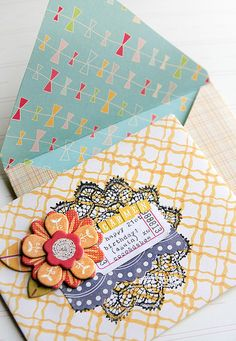 Envelopes made with scrapbooking paper - the perfect way to take advantage of the doubles sided pattern!