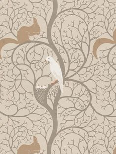 Squirrel+&+Dove+,+a+feature+wallpaper+from+Sanderson,+featured+in+the+Vintage+Wallpapers+collection.