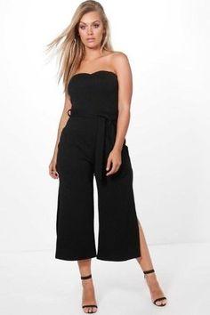 81da5001a43 Boohoo Plus Bandeau Tie Waist Jumpsuit Black Size UK 18 rrp 20 DH180 EE 02