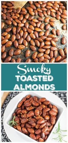 These toasted almonds are super addicting! They're full of smoky flavor and accented with rosemary and lemon zest. The perfect snack for a tapas party! Gluten Free Party Food, Gluten Free Recipes For Dinner, Healthy Gluten Free Recipes, Healthy Appetizers, Appetizer Recipes, Healthy Snacks, Raw Almonds, Roasted Almonds