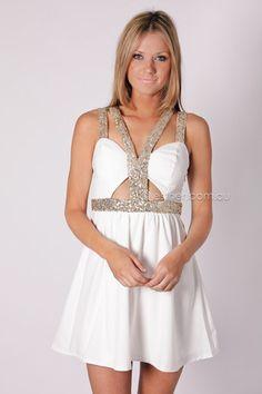 toga sequin dress- white