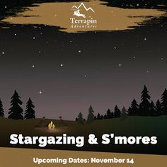 Our guides will regale you with colorful stories of our constellations, and facts about our stars. Then we shoot for the stars on our Giant Swing screaming as we reach for the moon!    Call 301-725-1313  #Stargazing #Smores