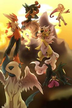 Mega Evolutions-- one thing is for sure, they all have amazing hairdos.