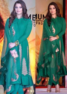 Aishwarya Rai Replica Green Color Gorgeous Anarkali Suit : Color : Green Fabric :              Top         : Bemberg              Bottom  : Santoon              Inner     : Santton              Dupatta : Net