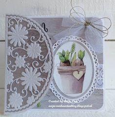 Anja Zom kaartenblog: Kaarten met de bloemen mallen van Anja van Laar Marianne Design Cards, Shaped Cards, Flower Cards, Vintage Cards, Paper Crafting, Making Ideas, Birthday Cards, Decorative Plates, Projects To Try
