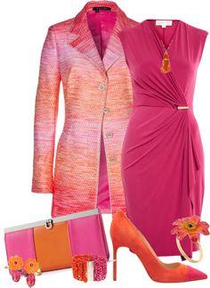 white dress outfits by wiwiekantonialy/monochromecombination Pink Dress Outfits, Komplette Outfits, Classy Outfits, Stylish Outfits, Diva Fashion, Work Fashion, Fashion Looks, Womens Fashion, Moda Chic