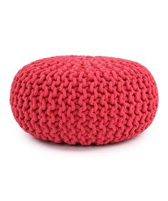 Take a look at this Karma Living Red Cable-Knit Pouf by Karma Living on #zulily today!