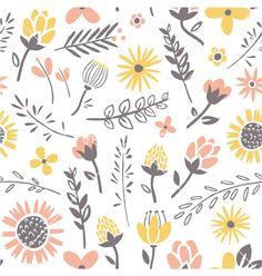 Field flowers pattern vector doodles by stolenpencil on VectorStock®