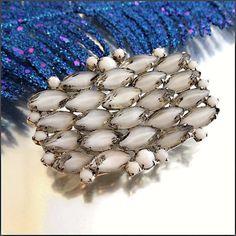 Givre Glass Brooch RARE Kramer Winter Wonderland Pin 1950s Jewelry $145
