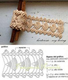 Free crochet diagram (fan motif) would be nice as a bracelet / belt. Crochet Lace Edging, Crochet Motifs, Crochet Borders, Crochet Diagram, Crochet Stitches Patterns, Crochet Chart, Thread Crochet, Crochet Trim, Love Crochet
