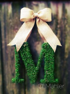 Custom Monogram Moss Initial Letter Wreath by CLMahler on Etsy