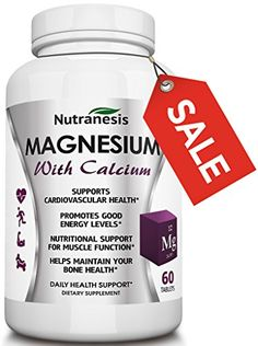 Nutranesis Magnesium with Calcium 60 Tablets * Check this awesome product by going to the link at the image. (This is an affiliate link) Magnesium Supplements, Bone Health, Good Energy, Energy Level, Program Design, Our Body, Side Effects, Pills, Bodies