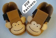 Sewing PDF Pattern for Monkey - Plain Baby Booties - Shoes with Ribbon | SewingPDFPatterns - Craft Supplies on ArtFire
