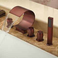 Öl-rieb Bronze Wasserfall verbreitet Badewanne Wasserhahn mit Handbrause (gebogene Form Design)