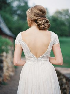 Wedding Dress: BHLDN - http://www.stylemepretty.com/portfolio/bhldn Photography: Jake and Heather - jakeandheatherphoto.com/   Read More on SMP: http://www.stylemepretty.com/2015/12/04/charming-french-estate-wedding-inspiration/