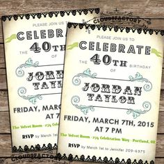 40th Birthday Party Invitation  Digital Printable by Cloud9Factory, $20.00