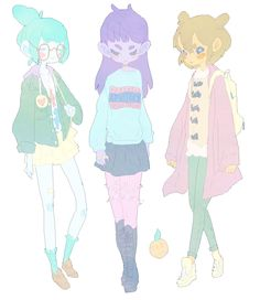 . (Pastel Faded Space Girls Cartoon)