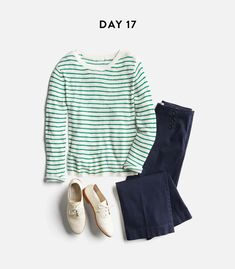 like this sweater with jeans, like the stripes, shape, green and white color, not too bold and striped can sometimes be