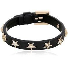 Red Valentino Women Stars Studs Leather Bracelet ($115) ❤ liked on Polyvore featuring jewelry, bracelets, black, red valentino, star bangle, studded jewelry and star jewelry