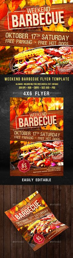 Weekend Barbecue Flyer for Restaurant or Party Template #design Download: http://graphicriver.net/item/weekend-barbecue-flyer-for-restaurant-or-party/12648396?ref=ksioks