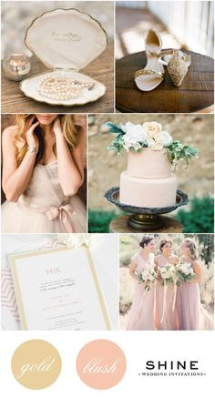 Gold and Blush Wedding Inspiration from Shine Wedding Invitations - Blush Wedding Dress, Blush Cake, Modern Wedding Invitations, Blush Bridesmaids Dresses