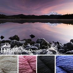 'Sweet Chilled Dusk' color palette features our Silk and Wool yarn in Linen, Dusty Pink, Coal and Veronica.