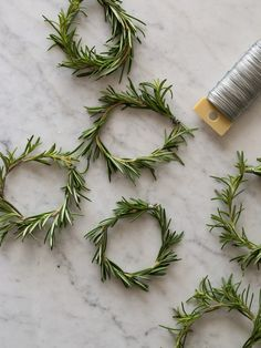 Rosemary Wreath Place Cards made with floral wire