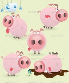Buy Funny little pig set by Genestro on GraphicRiver. Funny cartoon little pig set Funny Christmas Songs, Christmas Humor, Farm Animals, Funny Animals, Cute Animals, This Little Piggy, Little Pigs, Pig Drawing, Pig Illustration