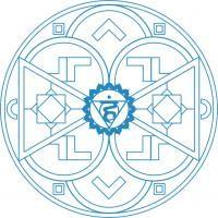 Mandala Azul. Mandala para colorear creado con el color del quinto chakra. Para imprimir, colorear, pintar.