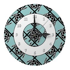 Modern Paisley Squares Black and White Wallclocks