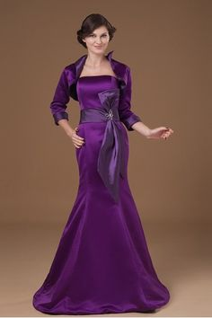Satin Strapless Sweep Train Mermaid Mother Of The Bride Dress with Sash and Jacket - Alice Bridal