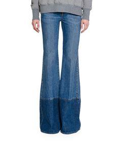 ALEXANDER MCQUEEN Two-Tone Denim Flare-Leg Jeans. #alexandermcqueen #cloth #