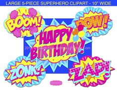 Superhero Word Bubbles - These large bubbles are perfect for party decorations, photo booth props and centerpieces.