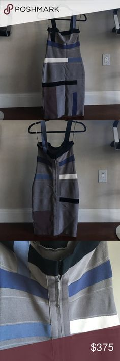 Herve Leger dress size small Pre loved. Grey, cream and a grey baby blue with black Herve dress.  Zip up in back.     In like new condition. No snags     Only wore twice.  Size small. Fits a 2/4 Herve Leger Dresses Mini