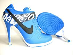 WMNS Nike Dunk Heels Shoes Low Blue Black White New