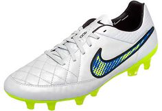 Nike Tiempo Legend V FG Soccer Cleats - White and Volt
