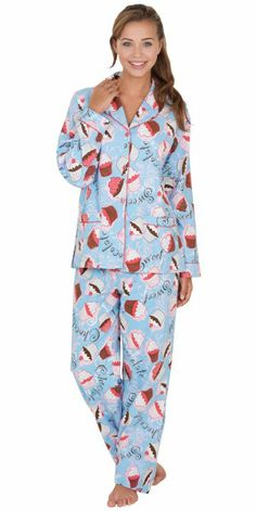 womens cupcake flannel pajamas