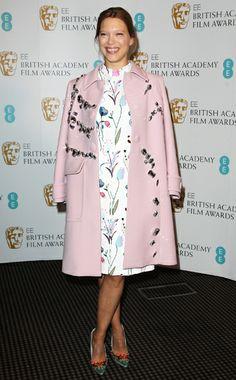 Léa Seydoux WHAT:  Miu Miu dress and shoes, Prada coat WHERE:  BAFTA's EE Rising Star Awards, London