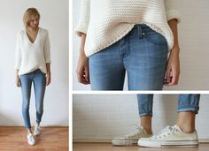 11 Street style skinny jean outfits I love! Ankle crops, white Converse, and an oversized sweater! Sweater Fashion, Denim Fashion, Look Fashion, Womens Fashion, Fashion Black, Petite Fashion, Curvy Fashion, Fall Fashion, Fashion Ideas