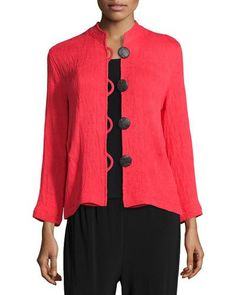 Mini-Pleated Mandarin-Collar Jacket, Petite