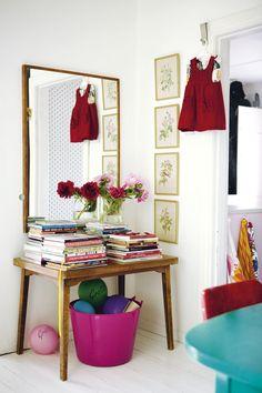 White wooden floor, white walls, flowers | Home of Jenny Brandt, blogger of http://dosfamily.com