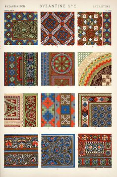 Byzantine patterns have a range of themes,  floral, organic shapes, geometric elements and more . The patterns are vibrant and rich in colour. The patterns elicit  visual excitement and interest.